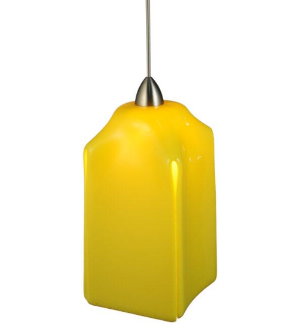 """8677490   4"""" Square FusedGlass Lemon Draped Mini Pendant"""