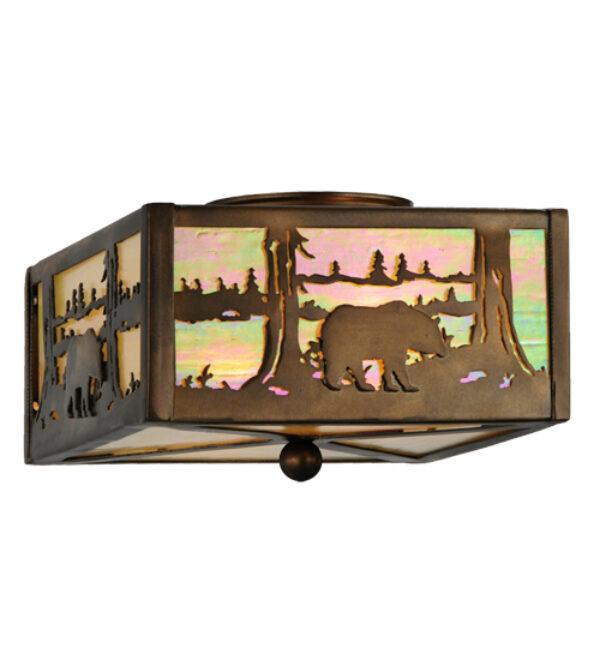 "8675332 | 10"" Square Antique Copper Cabin Flushmount"