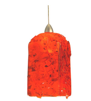"8675359 | 4"" Square FusedGlass Lava Mini Pendant"