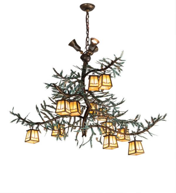 "8679174 | 52"" Long Ida Bell Pines 12 Light W/Uplights Chandelier"