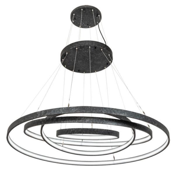 """8679185   60"""" Wide Razor Rings 4 Light Cascading Pendant"""