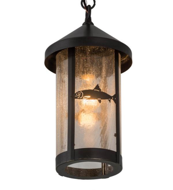 """8676556   8"""" Wide Fish Hanging Lantern Pendant"""