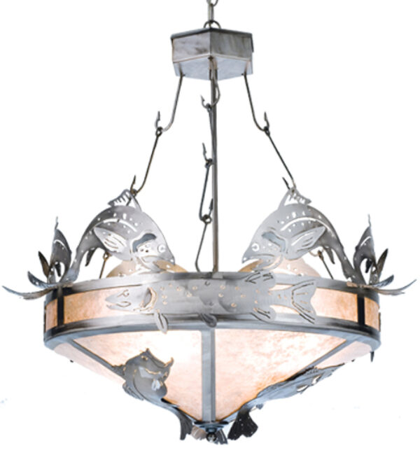 """8676579   30"""" Wide Fish Inverted Pendant"""